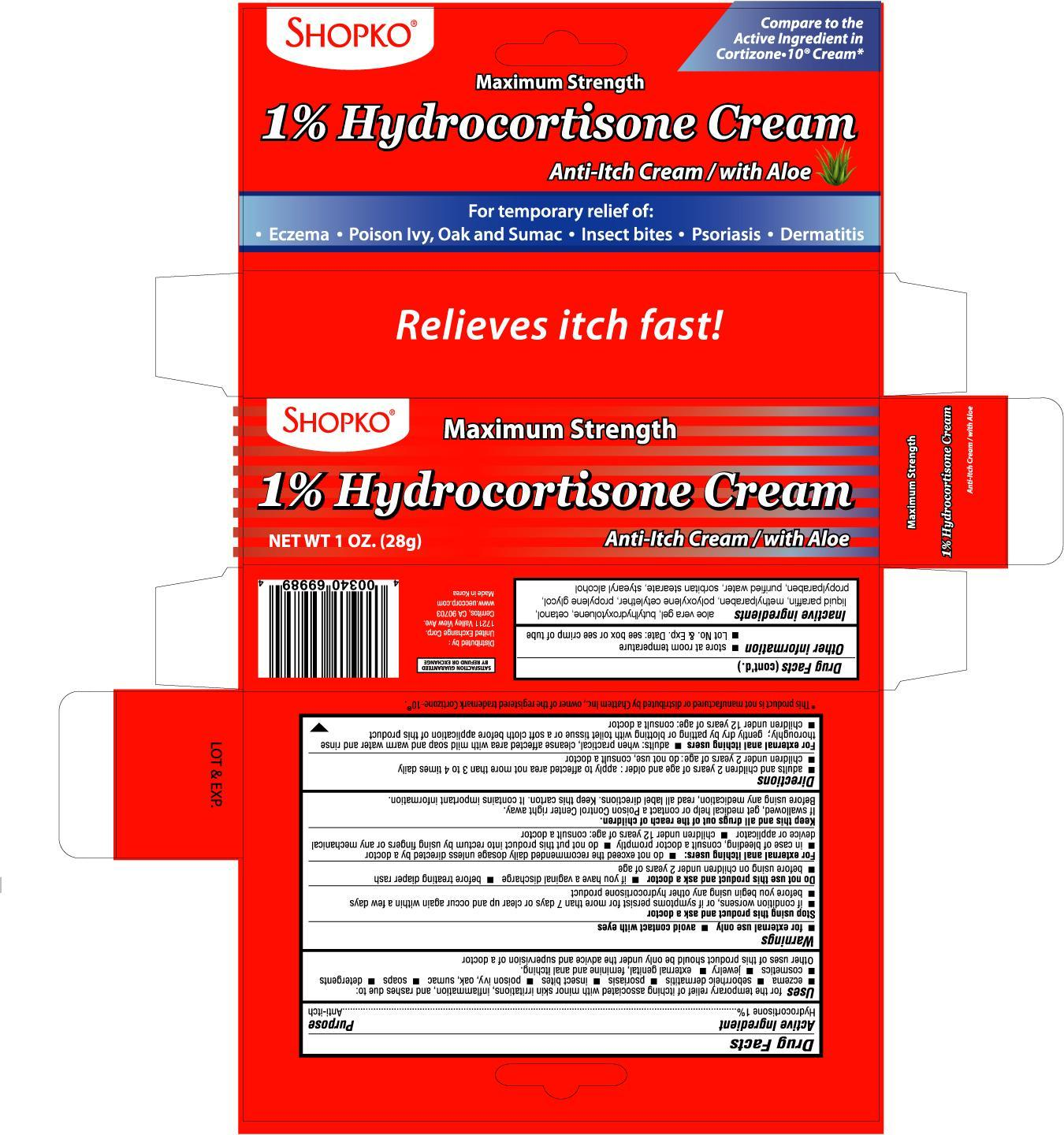 Shopko Hydrocortisone With Aloe (Hydrocortisone) Cream [United Exchange Corp]