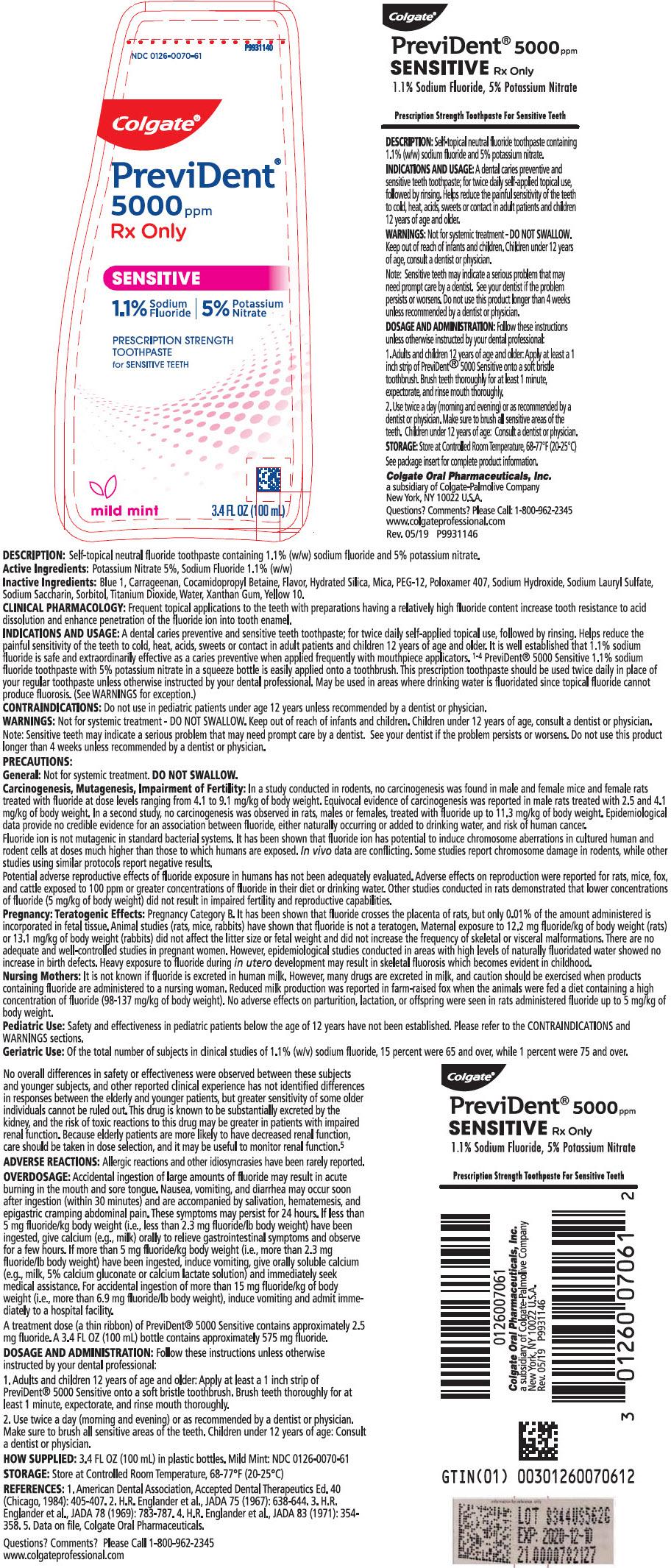 Prevident 5000 Sensitive (Sodium Fluoride) Gel, Dentifrice [Colgate-palmolive Company]