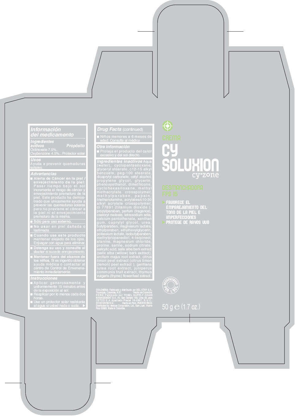 Cyzone Cy Soluxion Desmanchadora Fps 15 (Octinoxate And Oxybenzone) Cream [Ventura Corporation Ltd.]