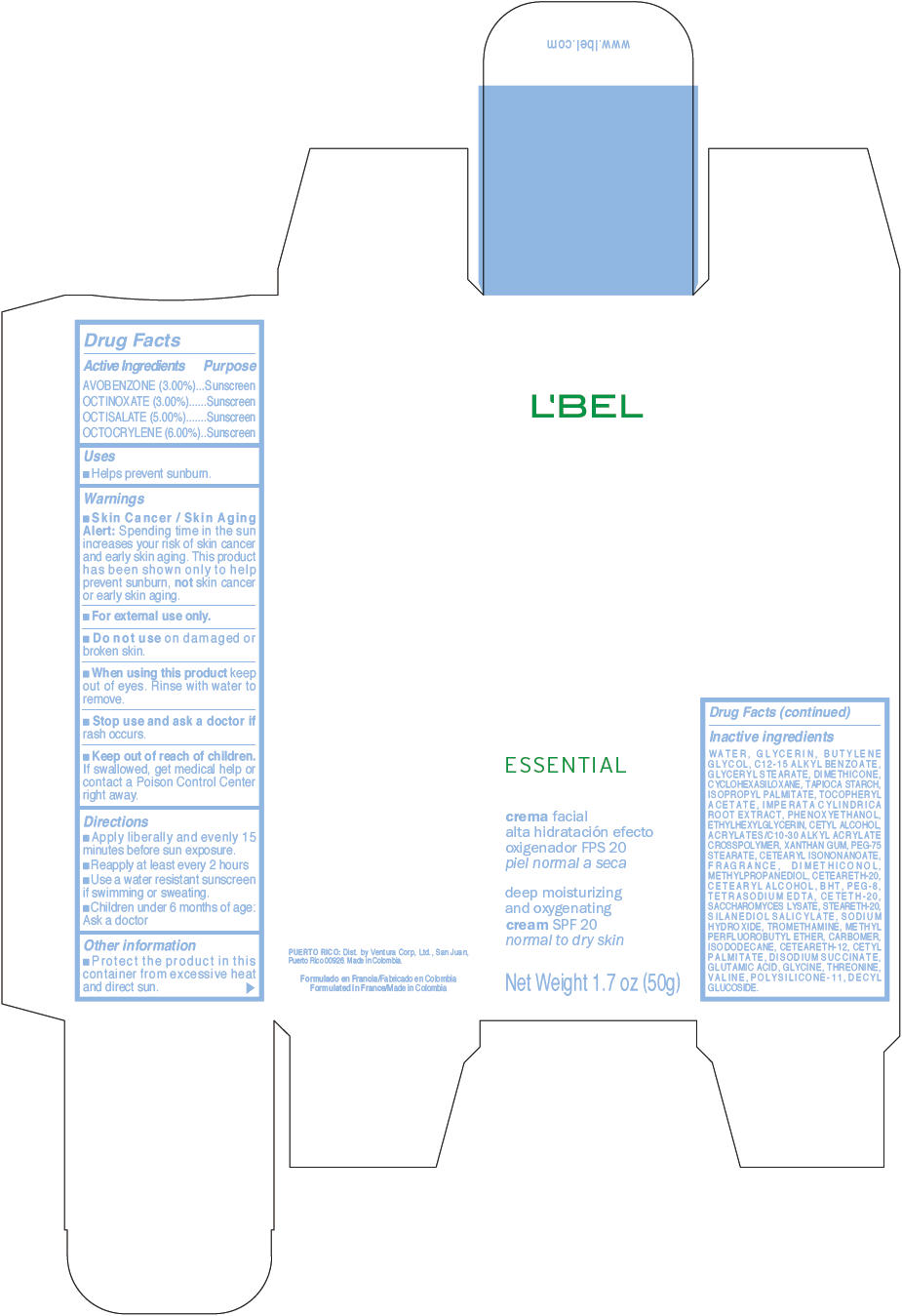 Lbel Essential Moisturizing And Oxygenating Spf 20 Normal To Dry Skin (Avobenzone, Octinoxate, Octisalate, And Octocrylene) Cream [Ventura Corporation Ltd]