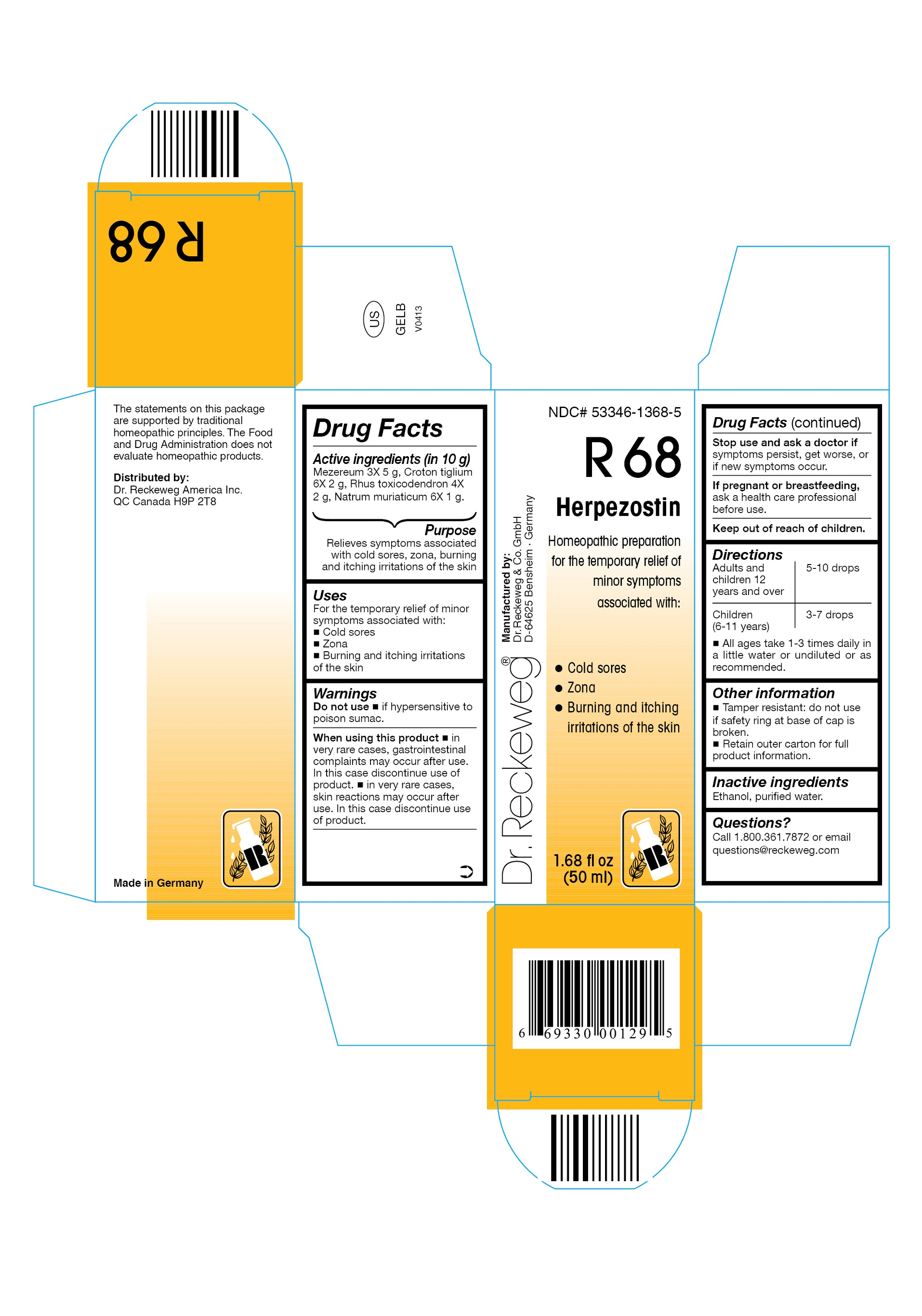 Dr. Reckeweg R68 Herpezostin Combination Product (Mezereum 3x, Croton Tiglium 6x, Rhus Toxicodendron 4x, Natrum Muriaticum 6x) Liquid [Pharmazeutische Fabrik Dr. Reckeweg & Co]