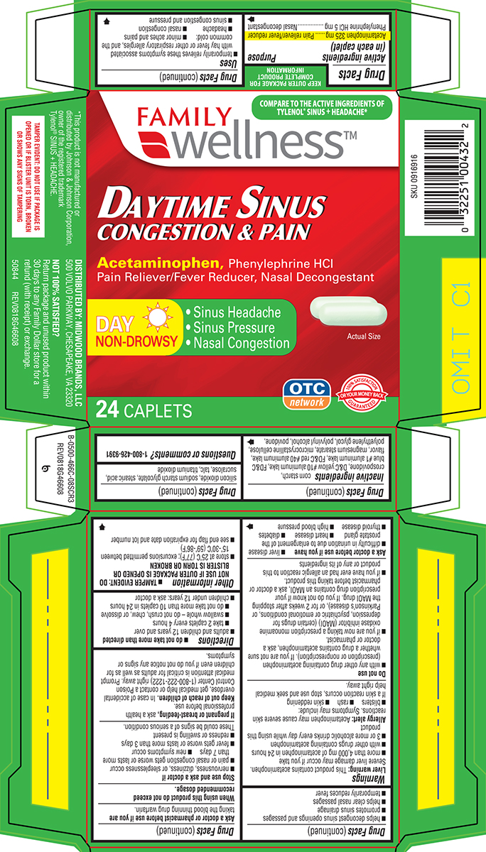Sinus Congestion And Pain (Acetaminophen, Phenylephrine Hcl) Tablet [Family Dollar]