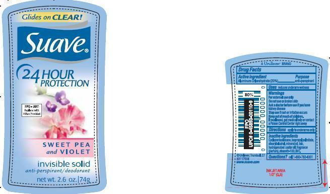 Suave Sweet Pea And Violet Antiperspirant And Deodorant (Aluminum Chlorohydrate) Stick [Conopco Inc. D/b/a Unilever]