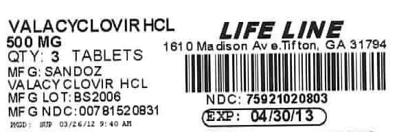 Valacyclovir HCl 500 mg Tablets Label