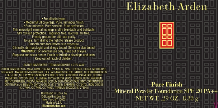 Pure Finish Mineral Powder Foundation Spf 20 Pure Finish 8 (Titanium Dioxide) Powder [Elizabeth Arden, Inc]