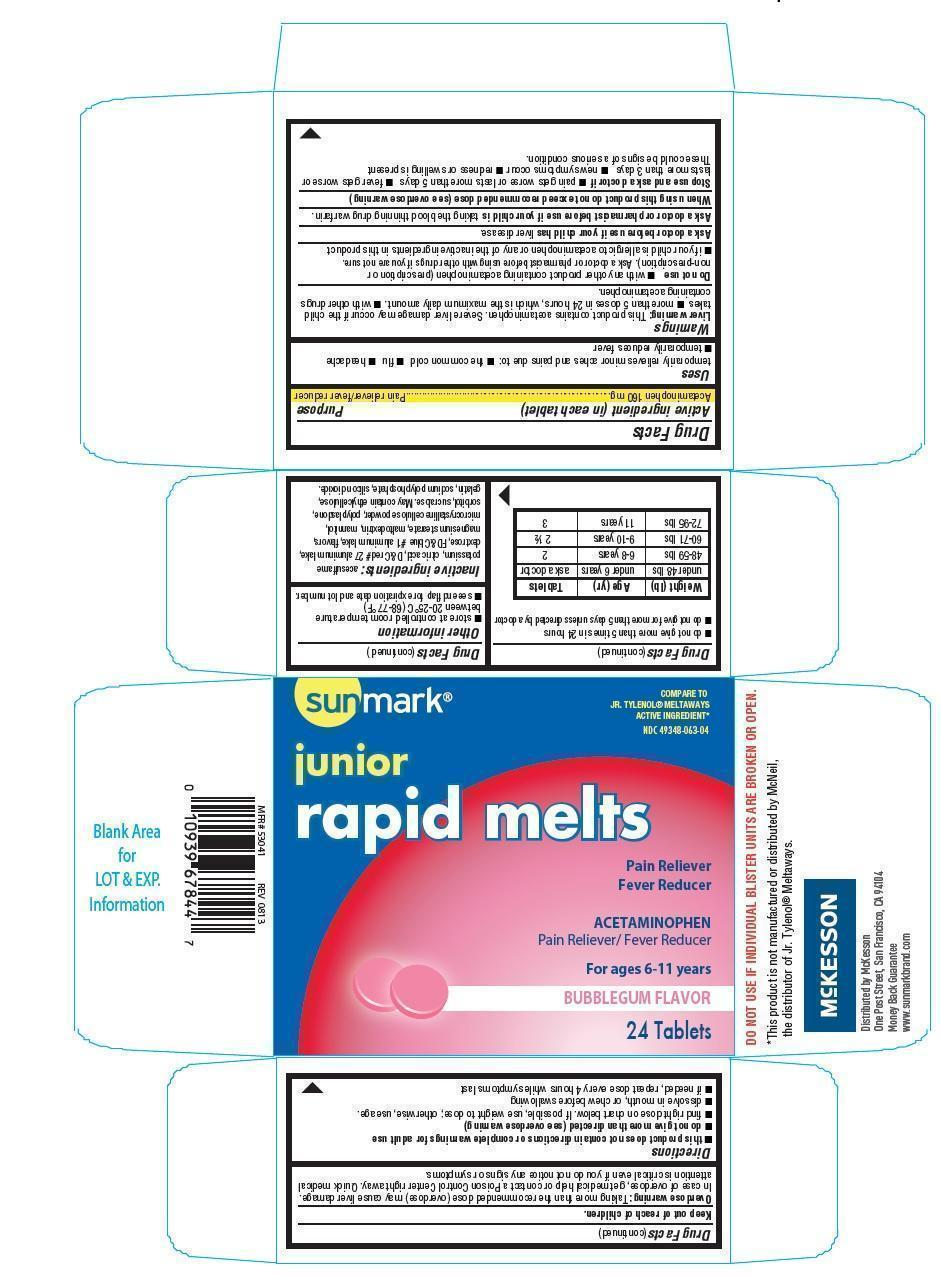 Sunmark Junior Rapid Melts (Acetaminophen) Tablet, Chewable [Mckesson]