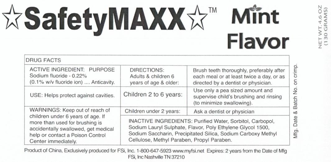 Safetymaxx Mint Flavor (Sodium Fluoride) Gel, Dentifrice [Fsi, Inc.]