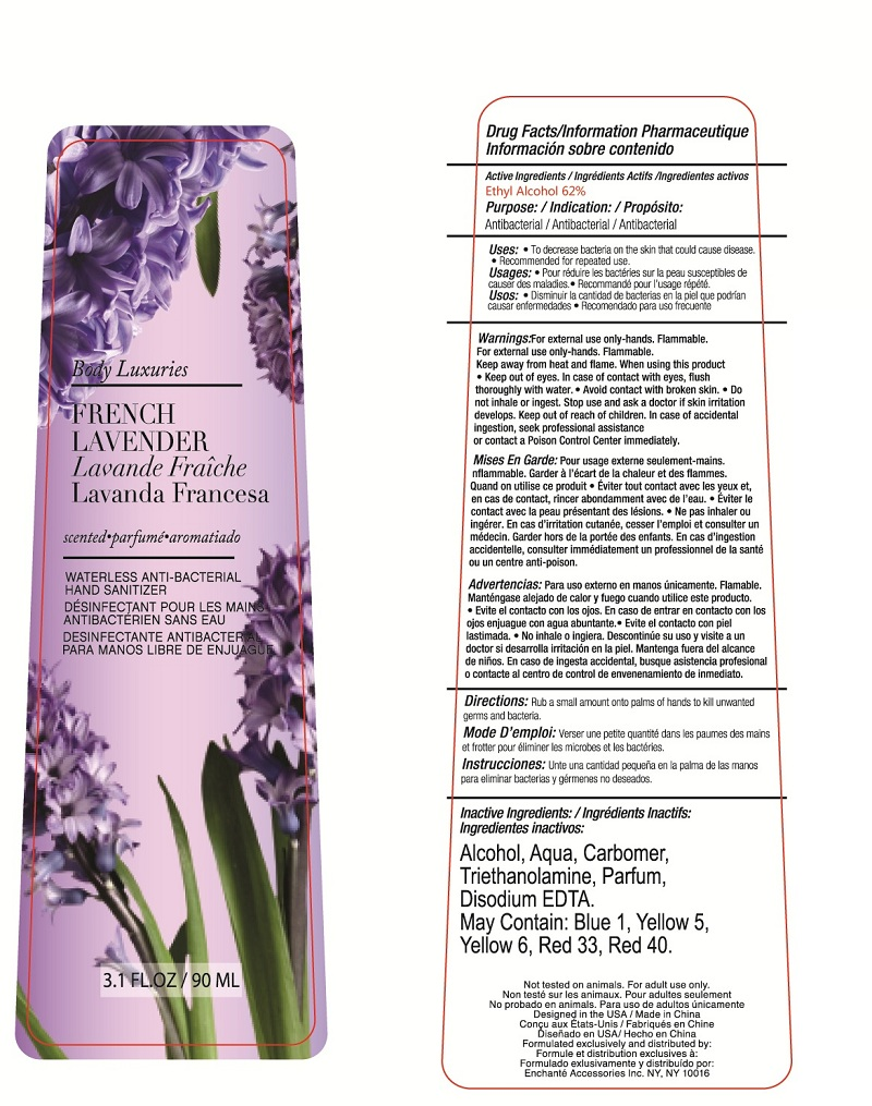 Body Luxuries French Lavender Waterless Anti-bacterial Hand Sanitizer (Alcohol) Liquid [Enchante Accessories Inc. ]