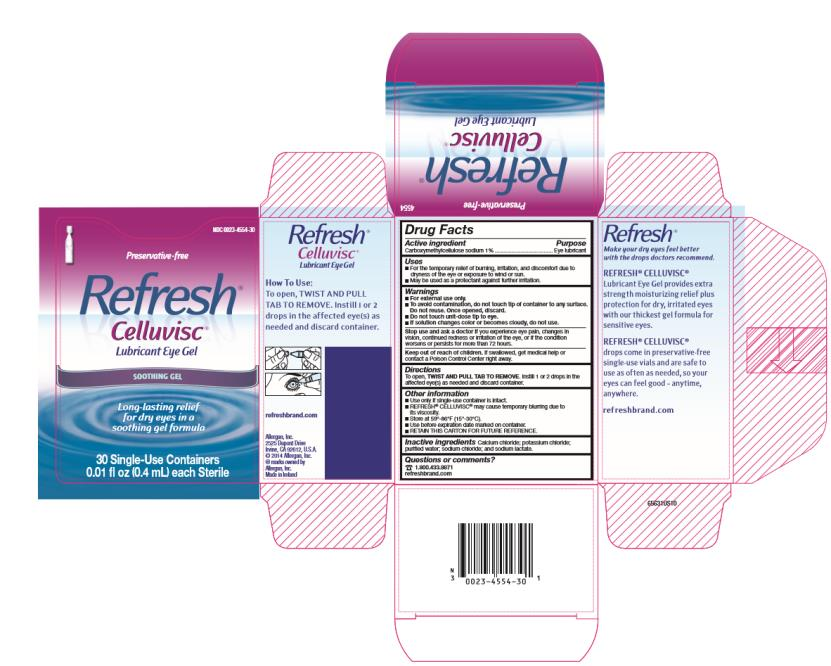 NDC 0023-4554-30  Preservative-free  Refresh®  Celluvisc®  Lubricant Eye Gel  Soothing Gel  Long-lasting relief  for dry eyes in a  soothing gel formula  30 Single-Use Containers 0.01 fl oz (0.4 mL) each Sterile