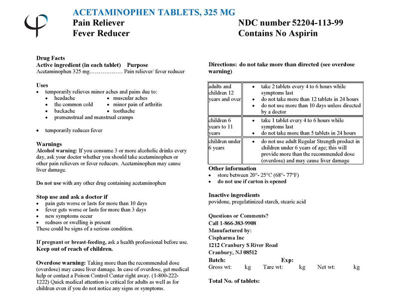 Acetaminophen Tablet [Cispharma, Inc]