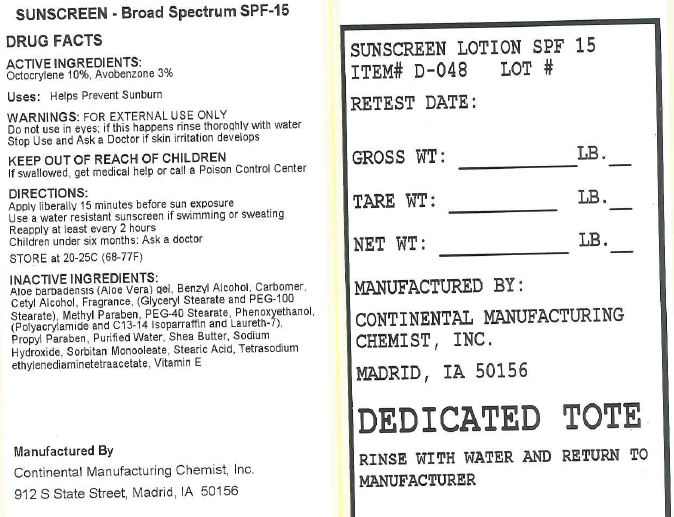 Spf-15 Sunscreen (Octocrylene, Avobenzone) Lotion [Continental Manufacturing Chemist, Inc.]