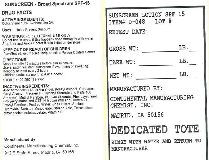 Spf-15 Sunscreen (Octocrylene, Avobenzone) Lotion [Continental Manufacturing Chemist, Inc.]