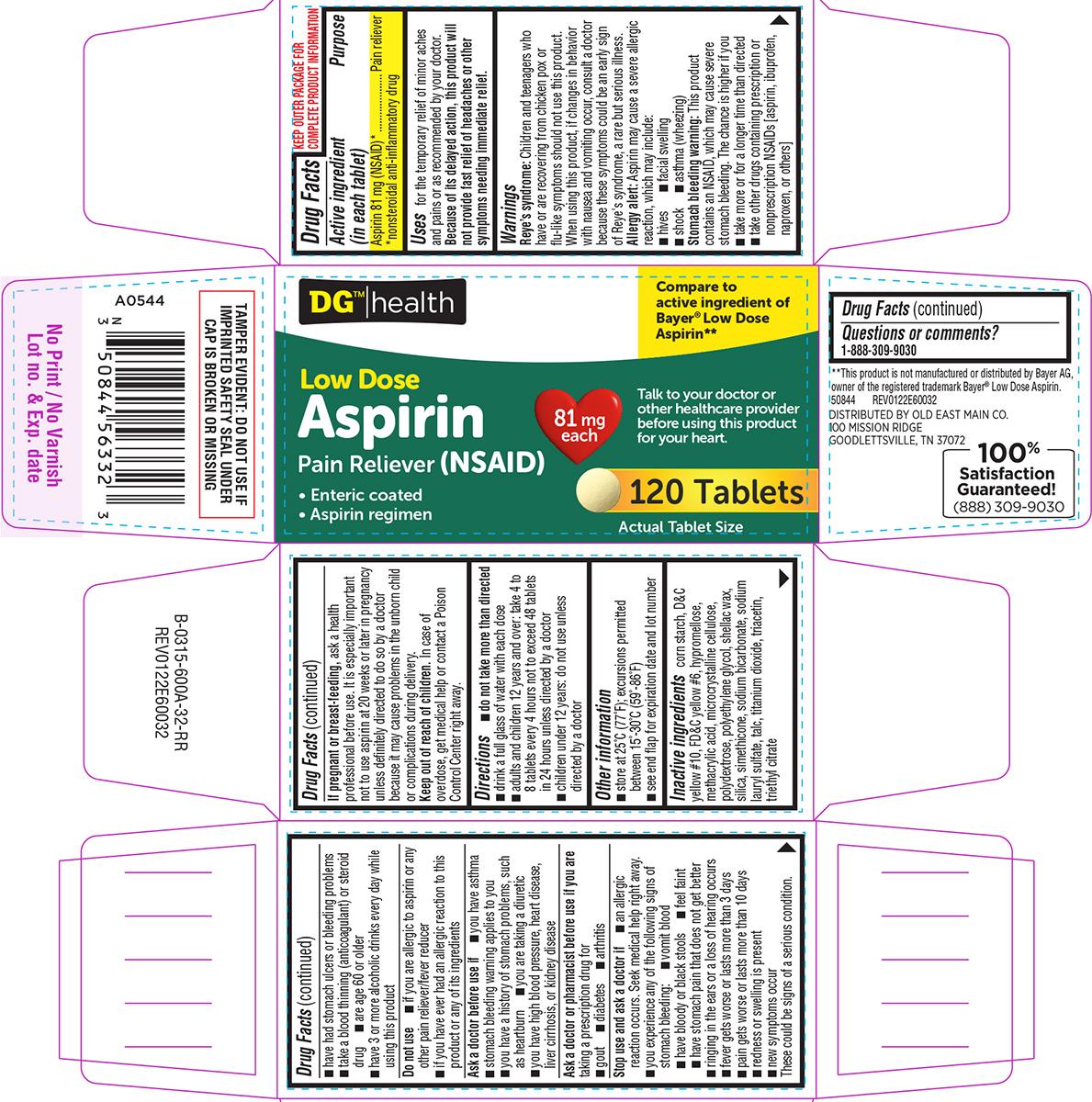 Aspirin 81 Mg (Aspirin) Tablet, Coated [Dolgencorp, Llc]