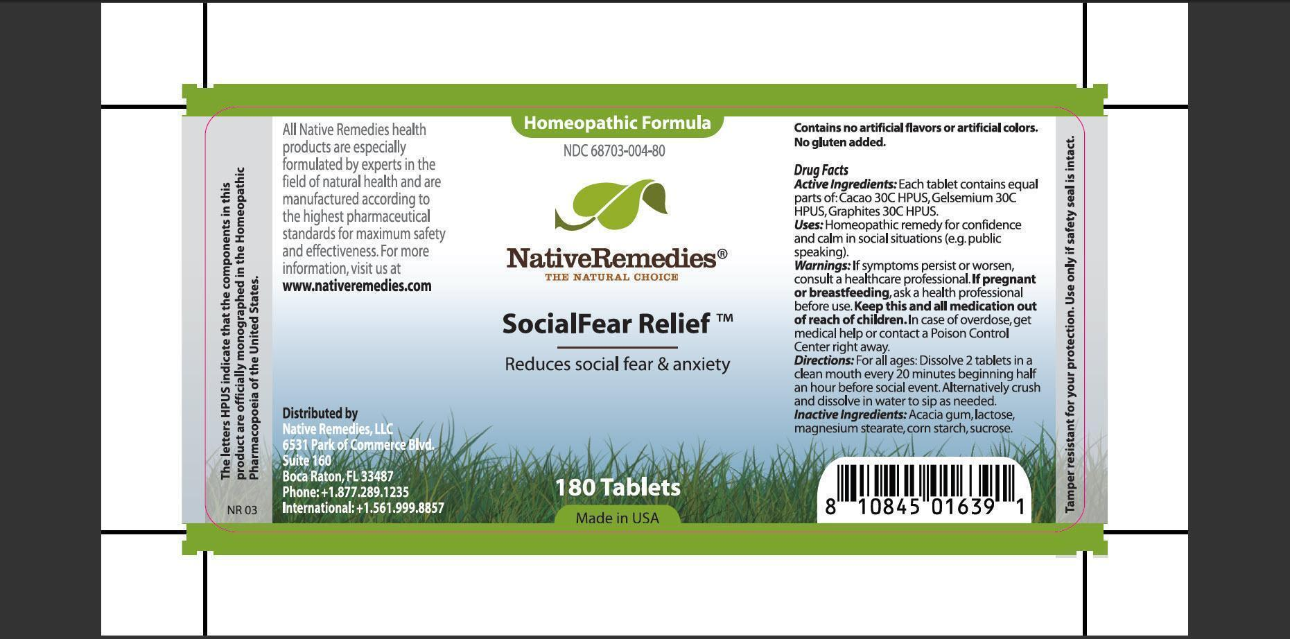 Socialfear Relief (Cacao, Gelsemium, Graphites, Acacia Gum, Lactose, Magnesium Stearate, Corn Starch, Sucrose) Tablet [Native Remedies, Llc]