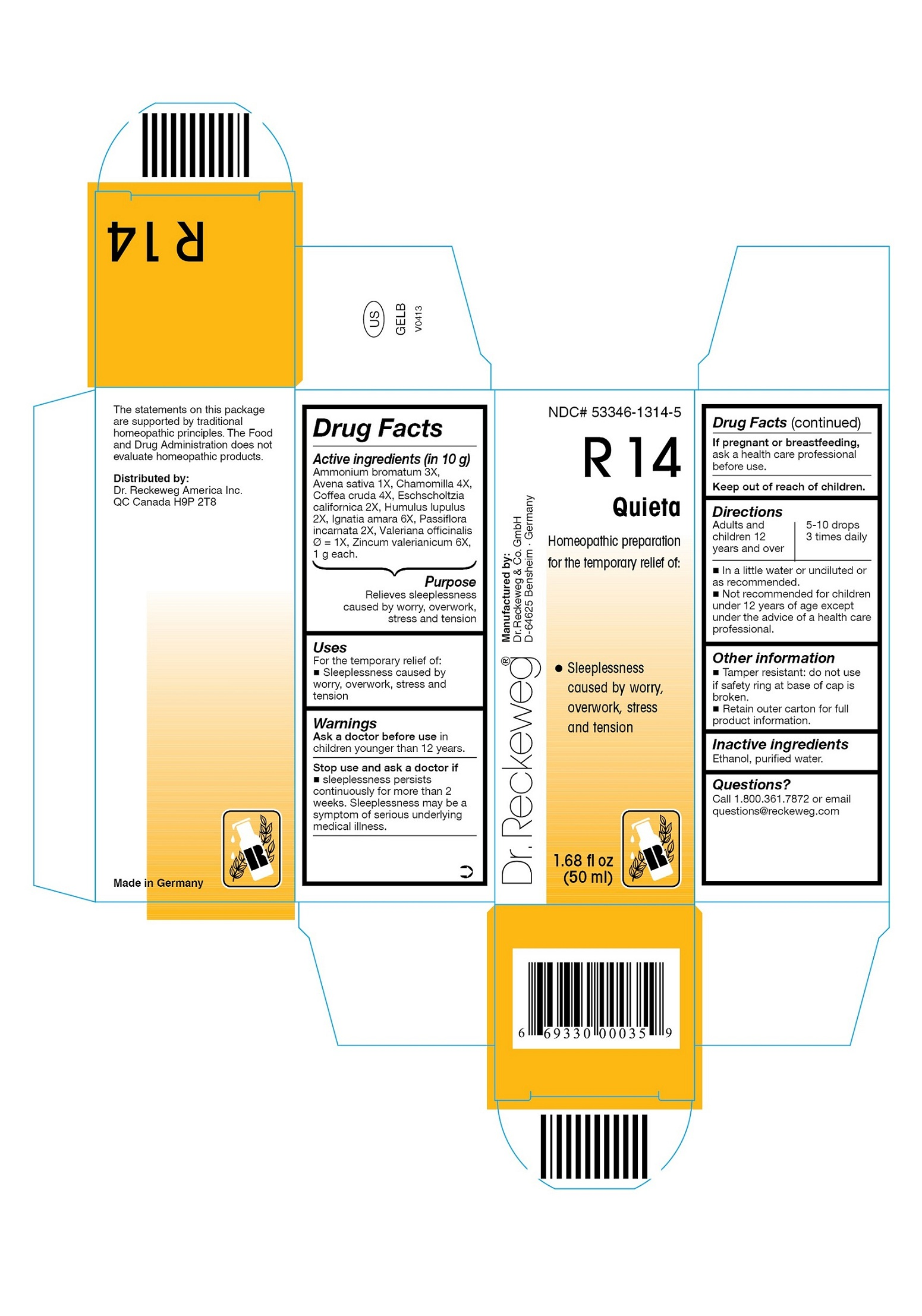 Dr. Reckeweg R14 Quieta Combination Product (Ammonium Bromatum 3x, Avena Sativa 1x, Chamomilla 4x, Coffea Cruda 4x, Eschscholtzia Californica 2x, Humulus Lupulus 2x, Ignatia Amara 6x, Passiflora Incarnata 2x, Valeriana Officinalis 1x, Zincum Valerianicum 6x) Liquid [Pharmazeutische Fabrik Dr. Reckeweg & Co]