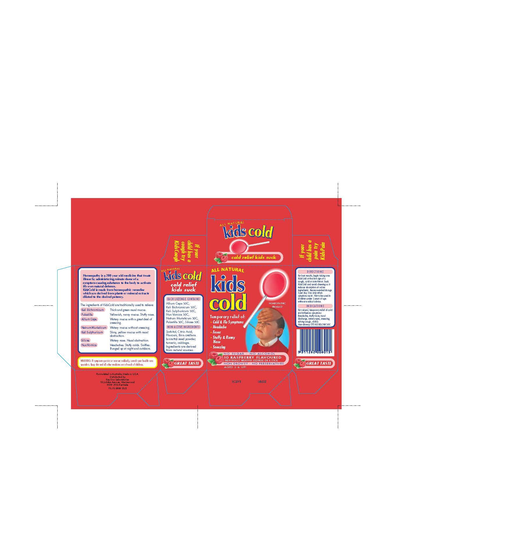 Kids Cold (Allium Cepa 30c, Kali Bichromium 30c, Kali Sulphuricum 30c, Nux Vomica 30c, Natrum Muriaticum 30c, Pulsatilla 30c, Silicea 30c) Lozenge [Natures Investment Holdings Pty Ltd Dba Maxrelief Usa]