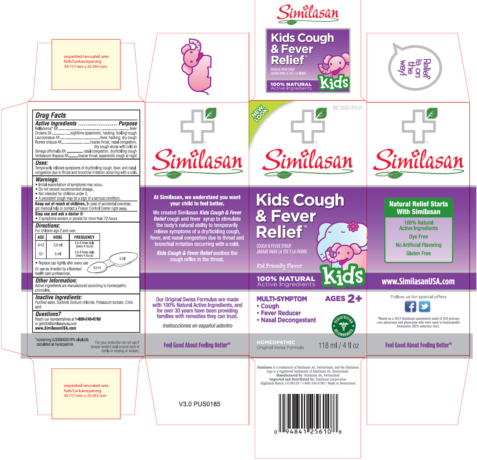 NDC 59262-259-25 Similasan Kids Cough & Fever Relief Cough & Fever Syrup 118 ml / 4fl oz