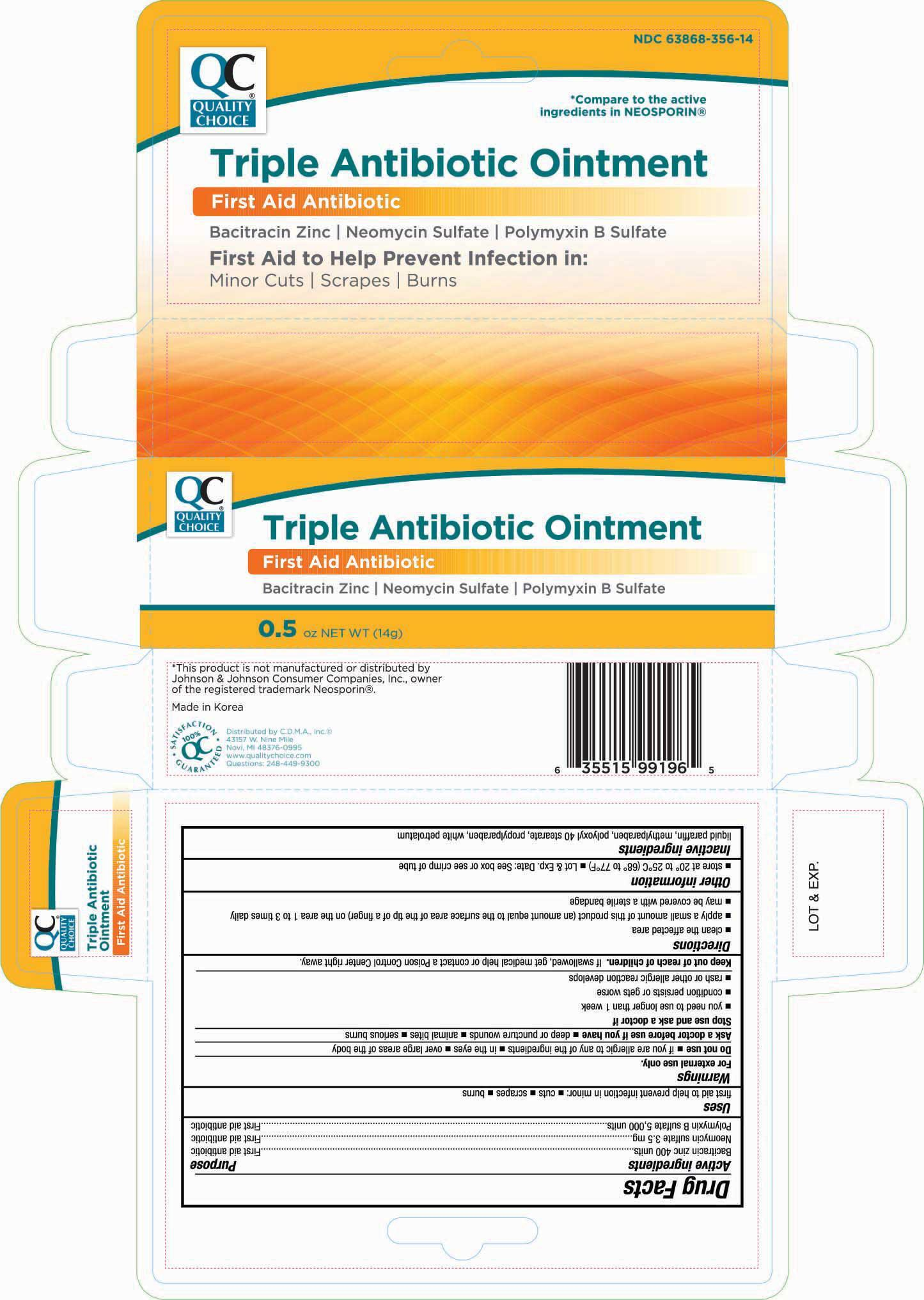 Quality Choice Triple Antibiotic (Bacitracin Zinc, Neomycin Sulfate, And Polymyxin B Sulfate) Ointment [Chain Drug Marketing Association Inc]