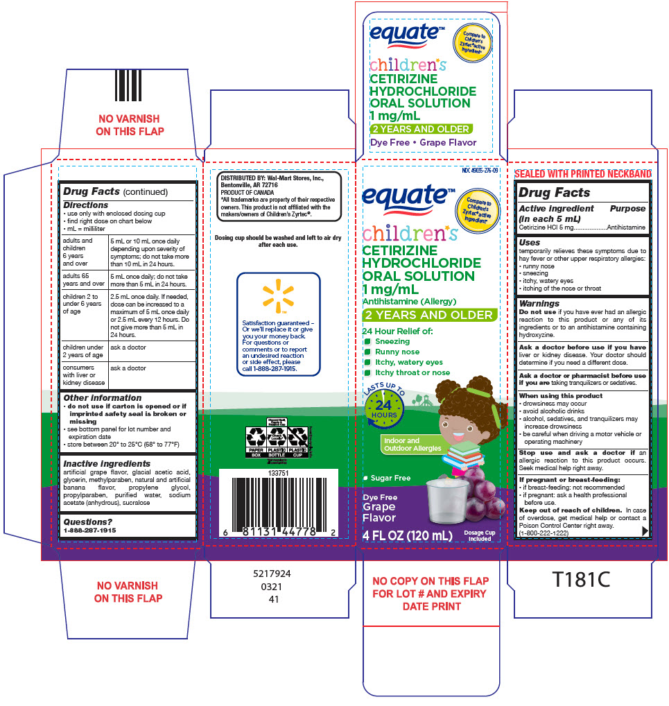 Equate Childrens Allergy Relief (Cetirizine Hydrochloride) Solution [Wal-mart Stores Inc]