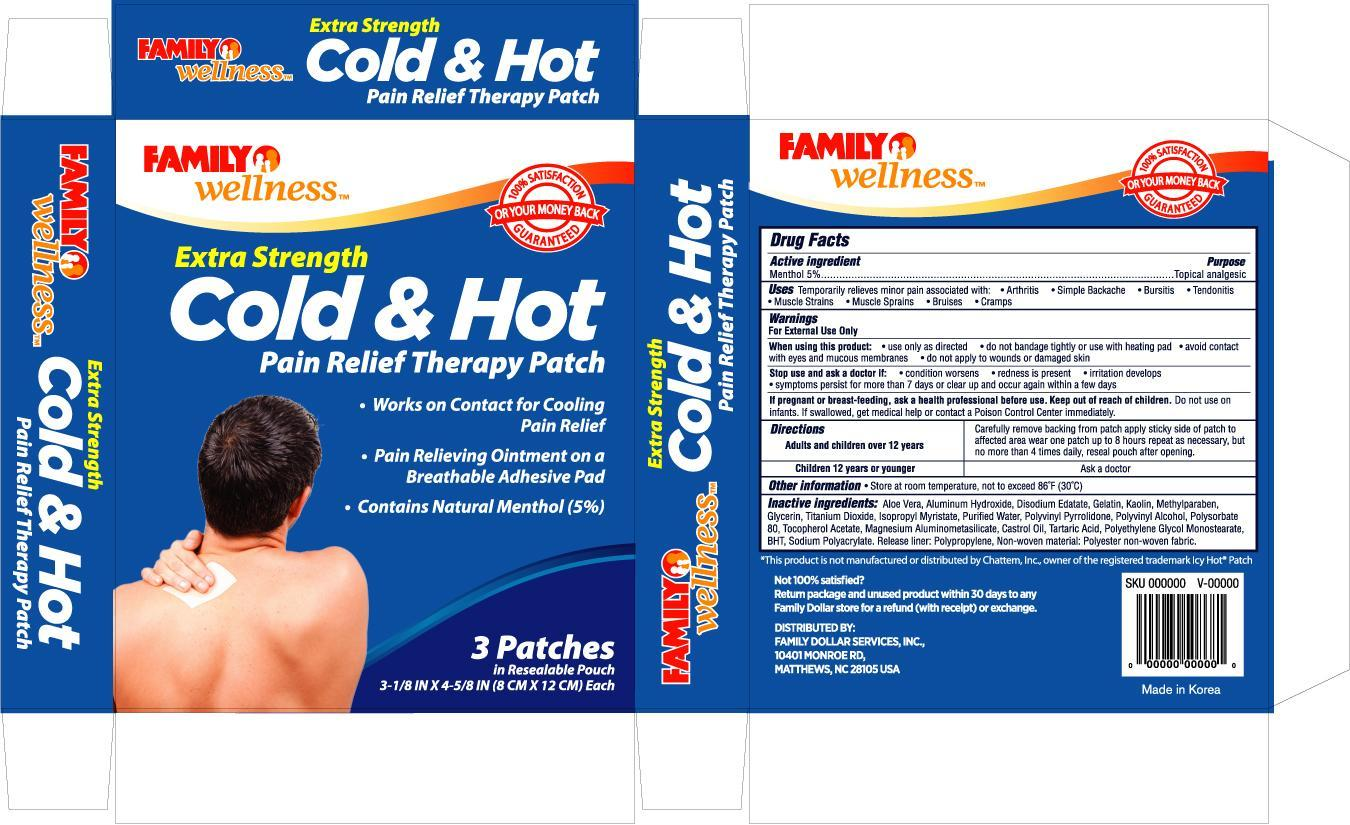 Family Wellness Cold And Hot Pain Relief (Menthol) Patch [Family Dollar]