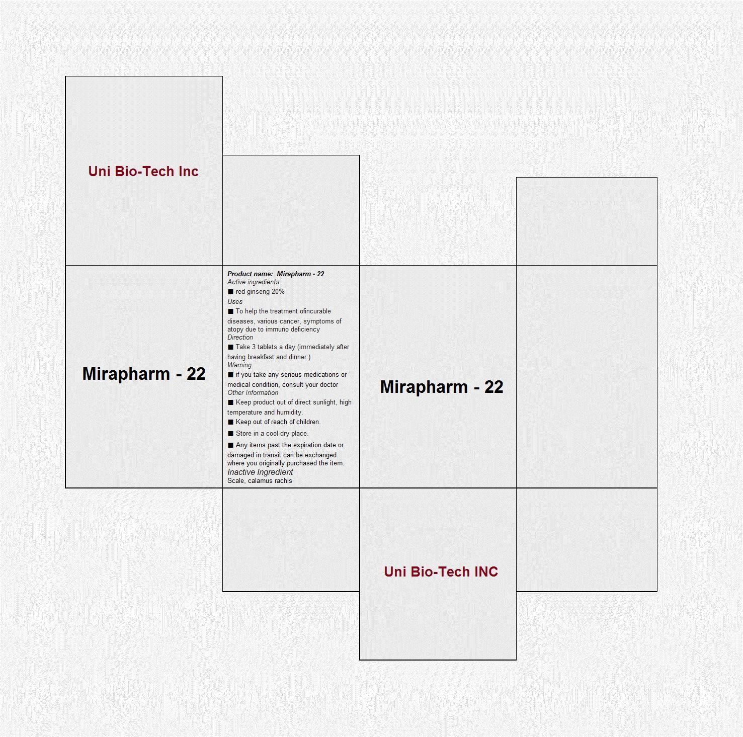 Mirapharm-22 (Panax Ginseng Whole) Capsule [Uni Bio-tech Inc ]