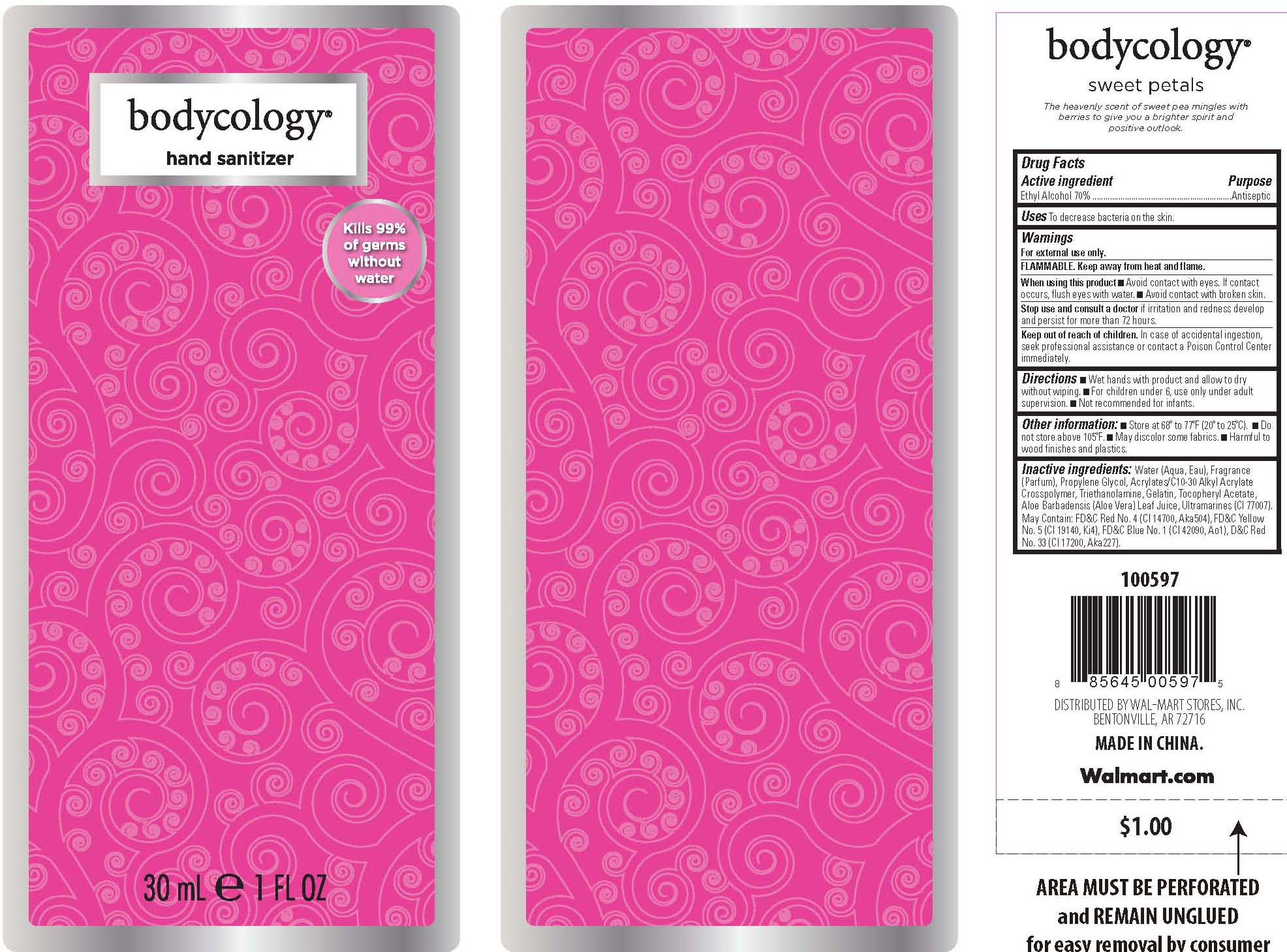 Bodycology Sweet Petals (Ethyl Alcohol) Gel [Wal-mart Stores, Inc.]