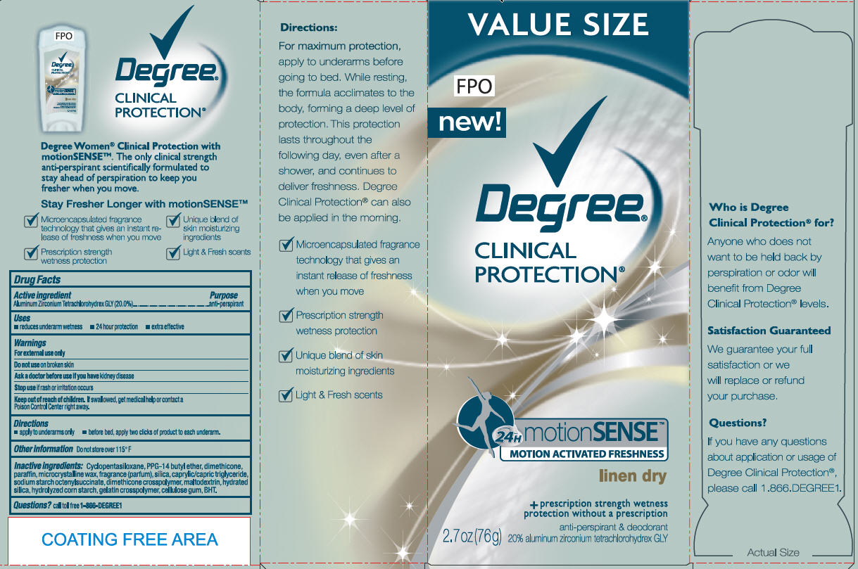 Degree Clinical Protection Motion Sense Linen Dry Antiperspirant And Deodorant (Aluminum Zirconium Tetrachlorohydrex Gly) Stick [Conopco Inc. D/b/a Unilever]