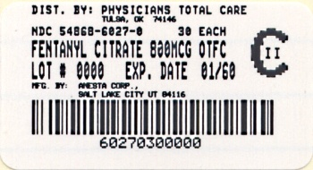 image of 800 mcg package label