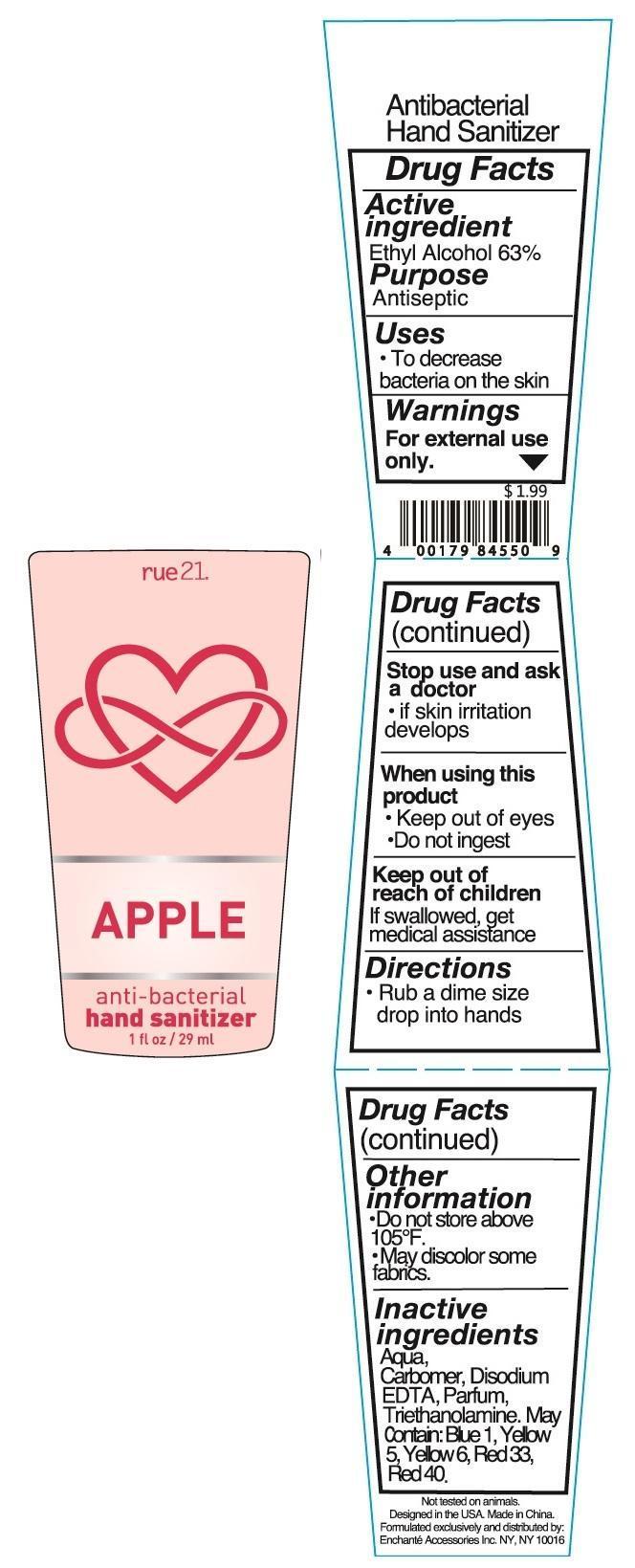Rue 21 Apple Anti Bacterial Hand Sanitizer (Alcohol) Liquid [Enchante Accessories Inc. ]