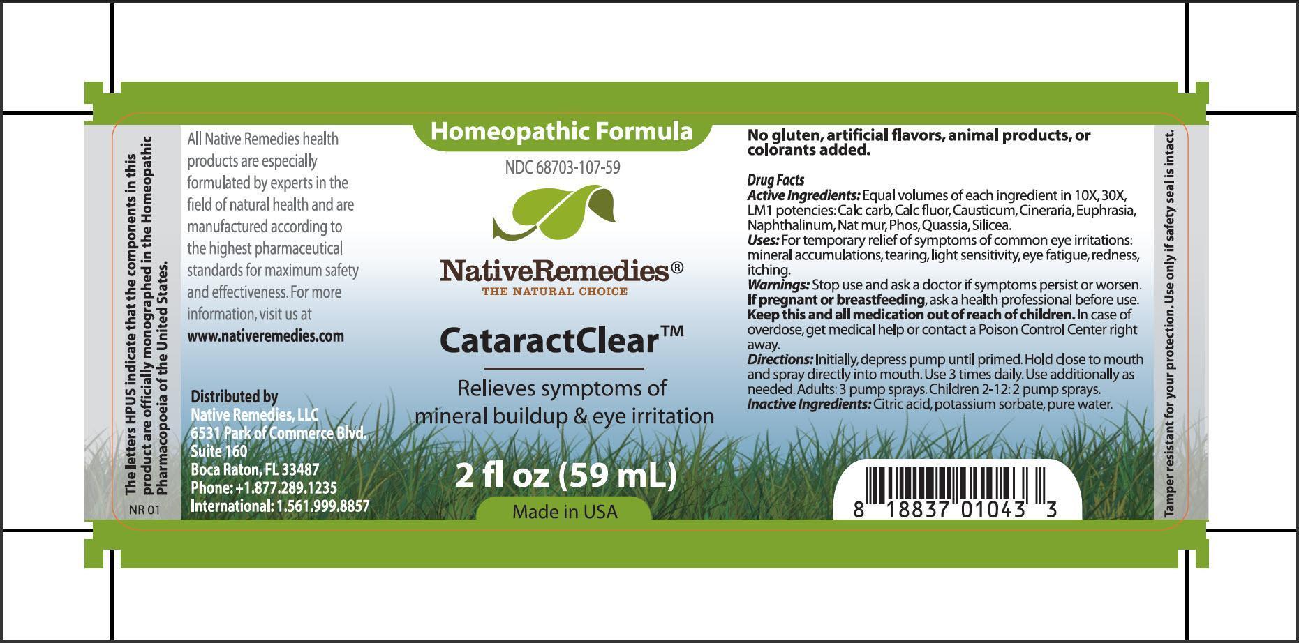 Cataractclear (Calc Carb, Calc Fluor, Casuticum, Cineraria, Euphrasia, Napthalinum, Nat Mur, Phos, Quassia, Silicea) Spray [Native Remedies, Llc]