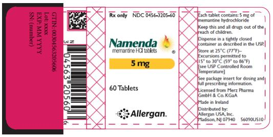 PRINCIPAL DISPLAY PANEL Rx Only NDC 0456-3202-12 Namenda memantine HCl oral solution 2 mg/ mL 12 fl oz (360 mL)