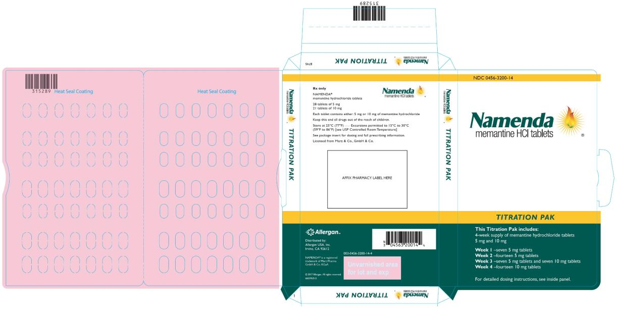 PRINCIPAL DISPLAY PANEL Rx Only NDC 0456-3210-60 Namenda memantine HCl tablets 10 mg 60 Tablets