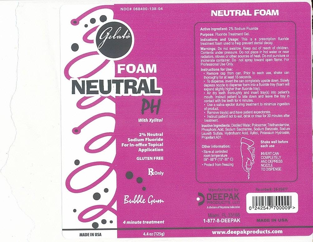 Gelato Neutral Ph (Sodium Fluoride) Aerosol, Foam [Deepak Products, Inc.]