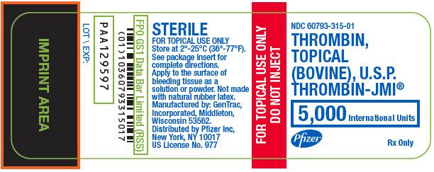 Thrombin-jmi (Thrombin, Topical (Bovine)) Kit [Pfizer Laboratories Div Pfizer Inc]