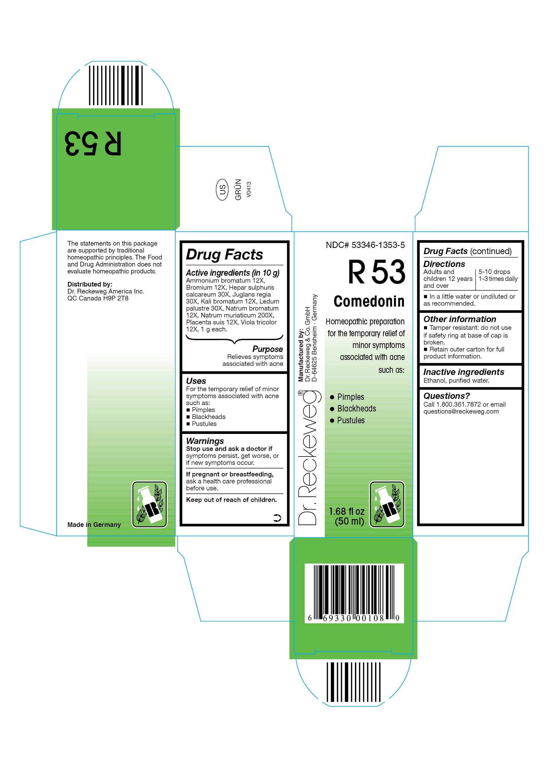 Dr. Reckeweg R53 Comedonin Combination Product (Ammonium Bromatum 12x, Bromium 12x, Hepar Sulphuris Calcareum 30x, Juglans Regia 30x, Kali Bromatum 12x, Ledum Palustre 30x, Natrum Bromatum 12x, Natrum Muriaticum 200x, Placenta Suis 12x, Viola Tricolor 12x) Liquid [Pharmazeutische Fabrik Dr. Reckeweg & Co]