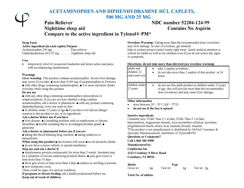 Acetaminophen And Diphenhydramine Hydrochloride Tablet [Cispharma, Inc]