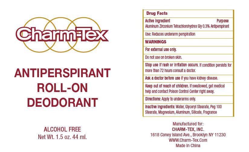 Charm-tex Antiperspirant Roll-on Deodorant (Aluminum Zirconium Tetrachlorohydrex Gly) Gel [Charm-tex, Inc]