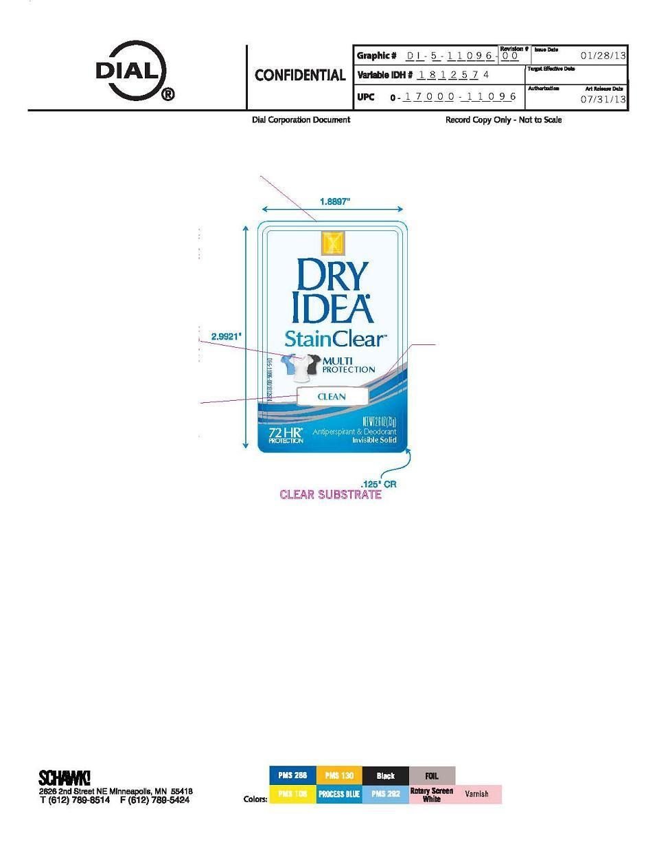 Dry Idea Clean (Aluminum Zirconium Tetrachlorohydrex Gly 19.0%) Stick [Vvf Illinois Services]