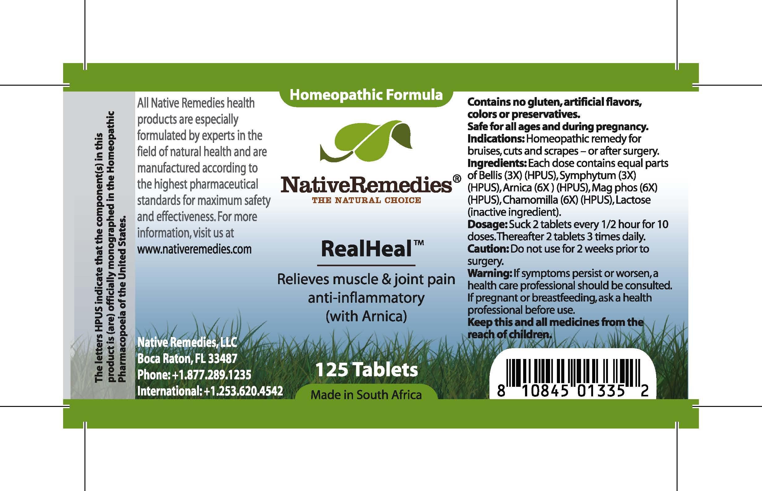 Realheal (Bellis, Symphytum, Arnica , Mag Phos, Chamomilla ) Tablet [Feelgood Health]