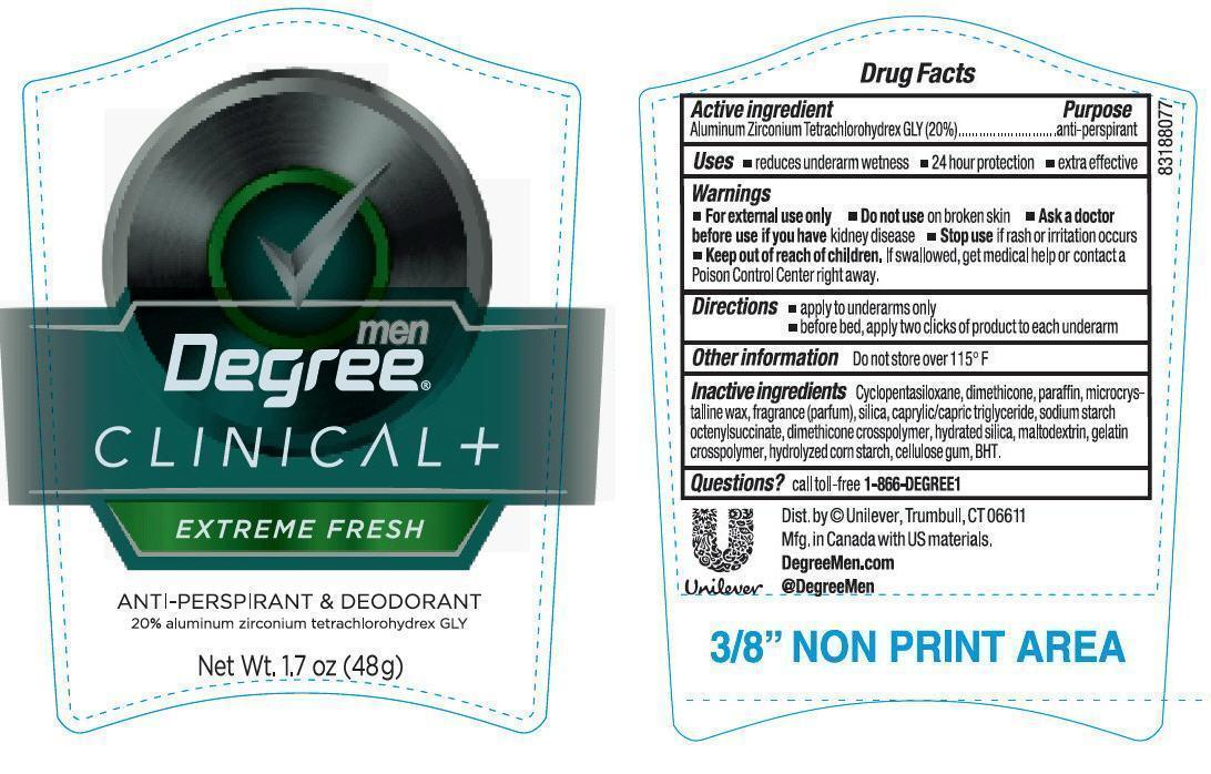 Degree Clinical Men Extreme Fresh Antiperspirant And Deodorant (Aluminum Zirconium Tetrachlorohydrex Gly) Stick [Conopco Inc. D/b/a Unilever]