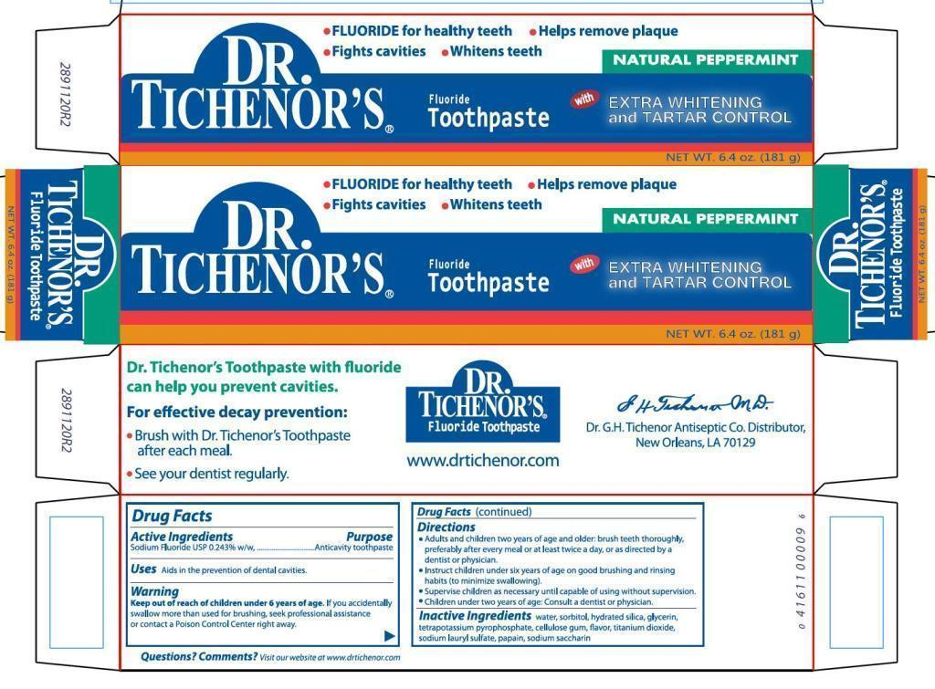 Dr Tichenors Toothpaste With Extra Whitening And Tartar Control (Sodium Fluoride) Paste [Dr. G. H. Tichenor's Antiseptic Company]
