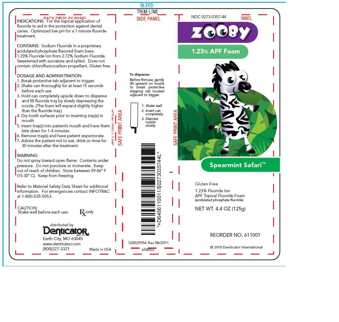 Zooby Spearmint Safari (Sodium Fluoride) Aerosol, Foam [Young Dental Manufacturing Co 1, Llc]