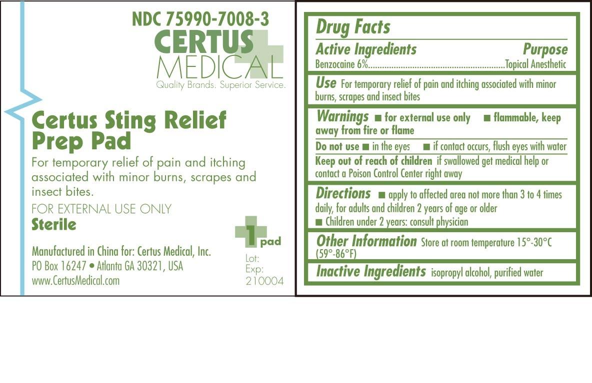 Certus Sting Relief Prep Pad (Benzocaine) Swab [Certus Medical, Inc.]