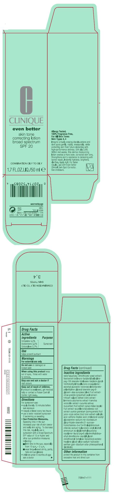 Clinique Even Better Skin Tone Correcting Broad Spectrum Spf 20 (Octisalate, Avobenzone, And Octocrylene) Lotion [Clinique Laboratories Inc.]