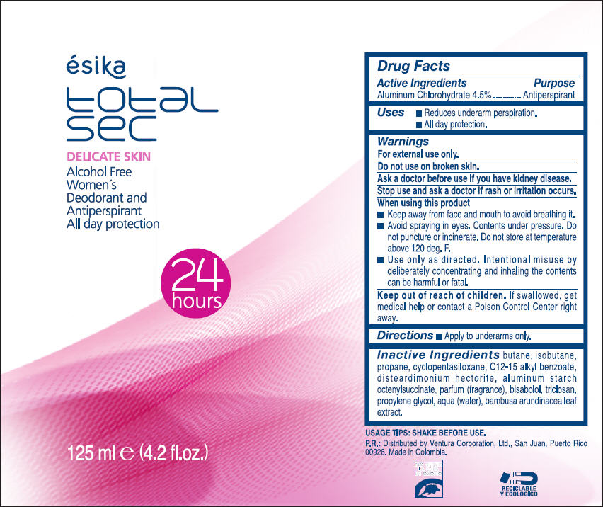 Esika Total Sec Delicate Skin Alcohol Free Womens Deodorant And Antiperspirant – All Day Protection (Aluminum Chlorohydrate) Spray [Ventura Corporation Ltd.]