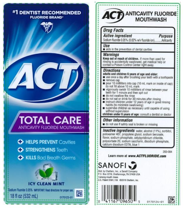 #1 DENTIST RECOMMENDED  FLUORIDE BRAND ACT® TOTAL CARE ANTICAVITY FLUORIDE  MOUTHWASH ICY CLEAN MINT Sodium Fluoride 0.05% 18 fl oz (532 mL)