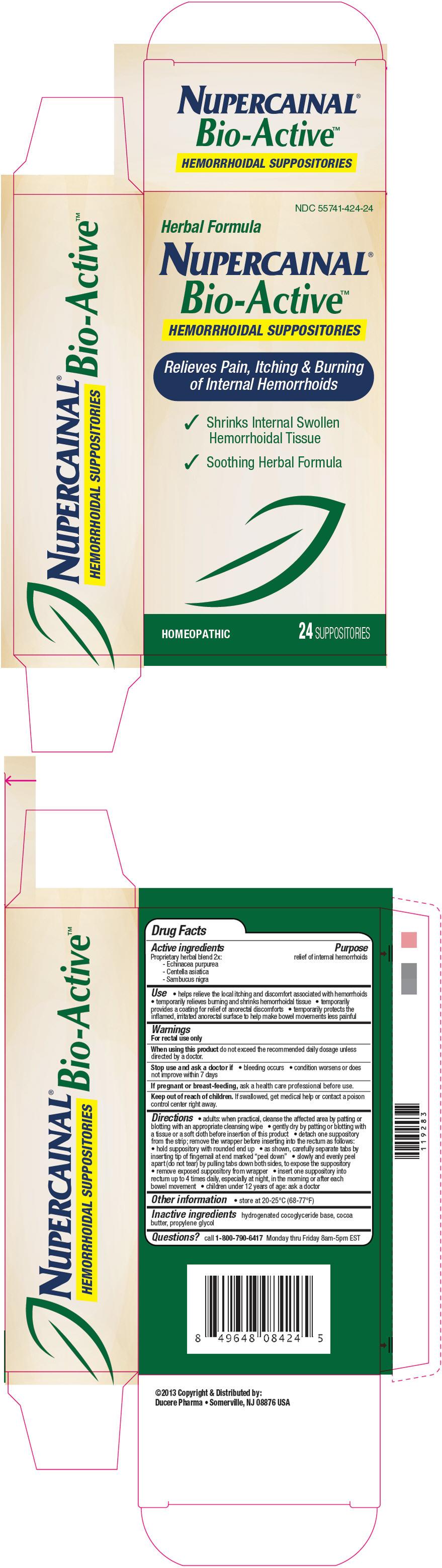 Nupercainal Bio-active Hemorrhoidal (Echinacea Purpurea, Centella Asiatica, And Sambucus Nigra Flowering Top) Suppository [Ducere Pharma]
