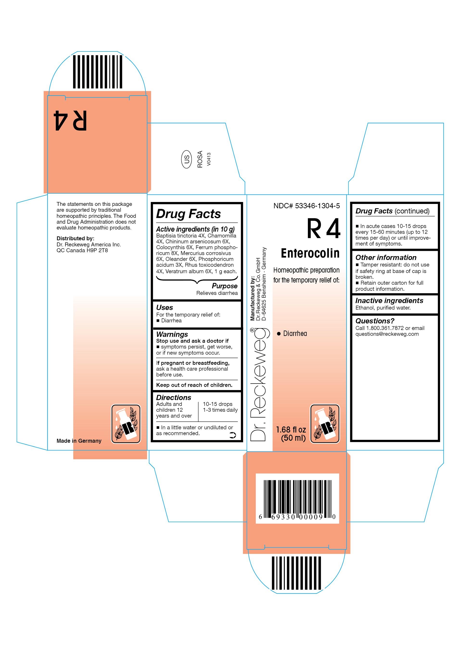 Dr. Reckeweg R4 Enterocolin Combination Product (Baptisia Tinctoria 4x, Chamomilla 4x, Chininum Arsenicosum 6x, Colocynthis 6x, Ferrum Phosphoricum 8x, Mercurius Corrosivus 6x, Oleander 6x, Phosphoricum Acidum 3x, Rhus Toxicodendron 4x, Veratrum Album 6x) Liquid [Pharmazeutische Fabrik Dr. Reckeweg & Co]