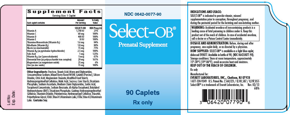 Select Ob (.beta.-carotene, Vitamin A Acetate, Ascorbic Acid, Cholecalciferol, .alpha.-tocopherol Acetate, Dl-, Thiamine Mononitrate, Riboflavin, Niacin, Pyridoxine Hydrochloride, Folic Acid, Levomefolate Calcium, Cobalamin, Iron, Magnesium, And Zinc) Tablet, Chewable [Everett Laboratories, Inc.]