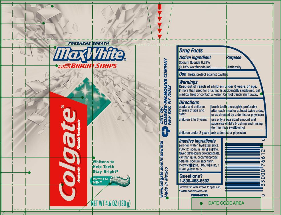 Colgate Max White With Mini Bright Strips Crystal Mint (Sodium Fluoride) Gel, Dentifrice [Mission Hills S.a De C.v]